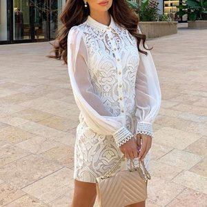 White Lace Bohemian Short Dress