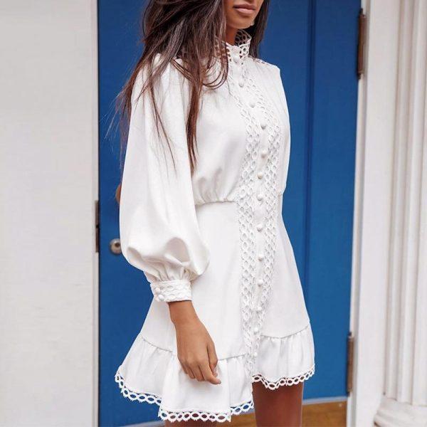 Bohemian White Dress Short Fitted