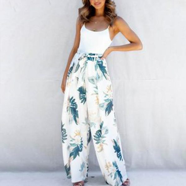 Glamaker Bohemia Lace Up Wide Leg Pants Women Palm Leaf Printed Loose Long Holiday Trouser Beach Pants With Elastic Waist Female