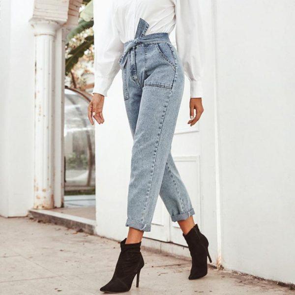 Conmoto Women Jeans Casual High Street High Waist Jeans Female Fashion Knot Pockets Denim Pants 2020 Spring Summer Long Capris