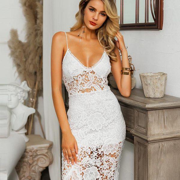 White Bohemian Lace Chic Dress