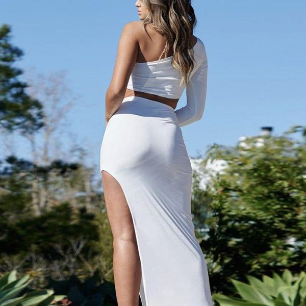 Glamaker Off Shoulder Two Piece Set Elegant Dress Women Irregular Collar Split Long Slim Dress Fashion Party Club Chrismas Dress