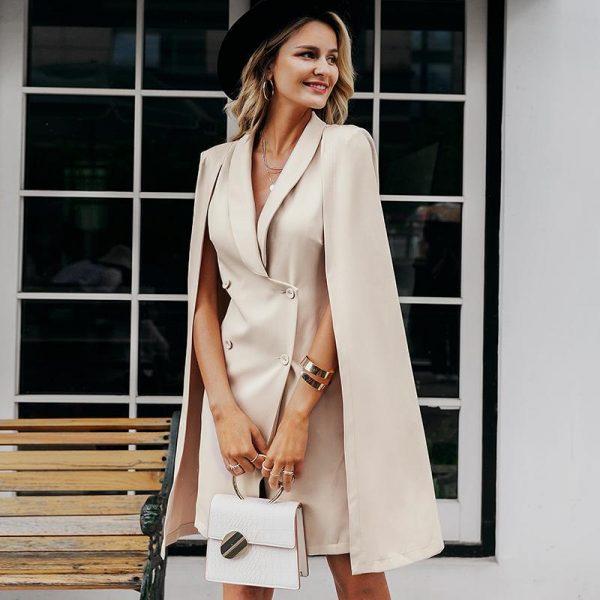 Simple Vintage Cloak Blazer Women Dress Office Ladies V Neck Shawl Sleeveless Dress Female Solid Celebrity Party Dress Vestidos