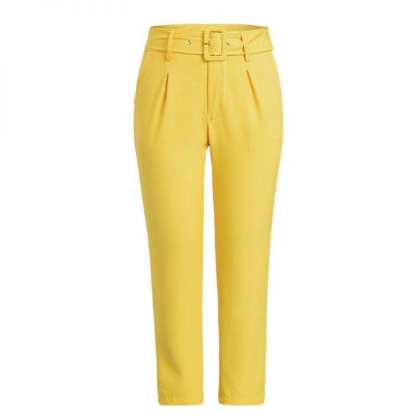 Glamaker White Buckle Belt Trousers Women Pants Female Loose Work High Waist Suit Pants Sexy Straight Sash Pants Patalon Bottom