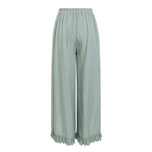 Simplee Sexy Ruffles Casual Women Pants Capri High Waist Baggy Split Summer Pants Female Ladies Wide Leg Trousers Bottom 2018