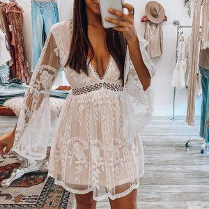 White Bohemian Style Short Dress