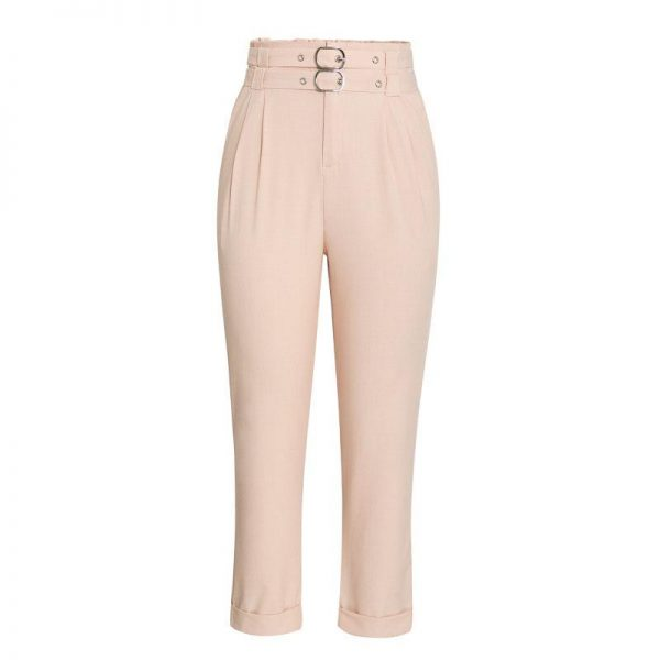 Simplee Casual Solid Women Cropped Pants Sexy Silm Haigh Waist Trousers Fashion Double Belt Decoration Ladies Work Pants 2020