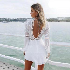 White lace dress boheme chic style