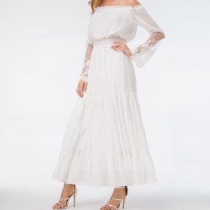 Bohemian chic white maxi dress