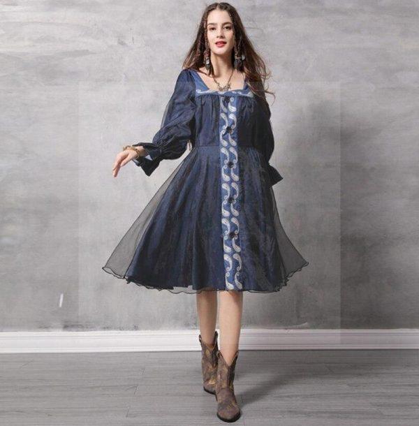 Bohemian chic dress in navy blue