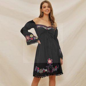 Bohemian chic black lace dress