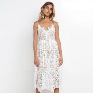 Bohemian chic long white dress