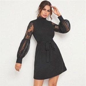 Bohemian short dress black