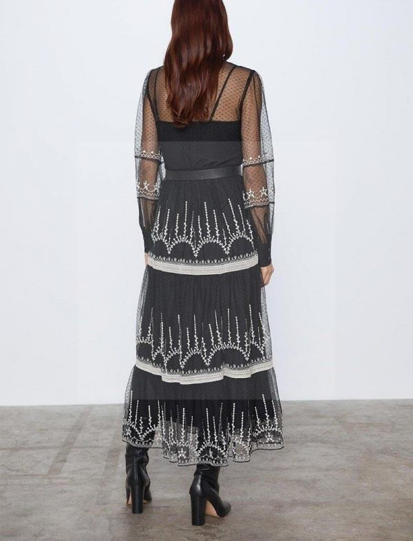 Bohemian chic long dress with long sleeves and crew neck