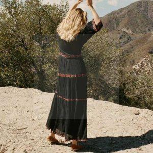 Black lace bohemian maxi dress